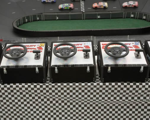 Micro-Reality Motorsports Race Track Interactive Three Driver Steering Stations