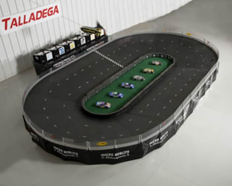 Talladega Micro-Reality Motorsports Stock Car Racing Track | Fast Racing Action for Six Players
