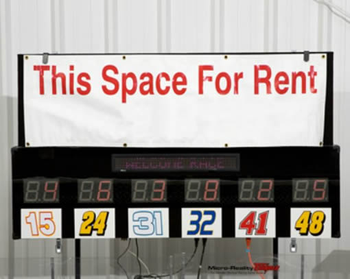 Lap Counter for the Micro-Reality Motorsports Race Track has Space for Advertising and Sponsors